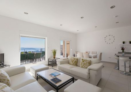 Villa Stone-open plan lounge with view to the terrace and Dubrovnik Riviera