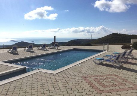 Private pool of luxury apartments Iva and view to the Adriatic Sea