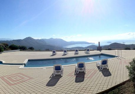 Terrace with private pool of luxury apartments Iva and view to Dubrovnik Riviera