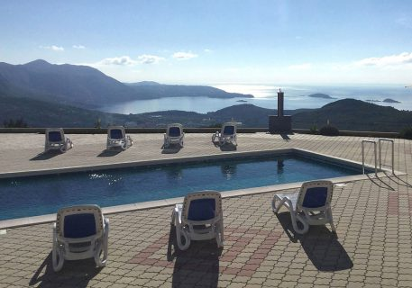 View from luxury apartments Iva over the pool to the Dubrovnik Riviera