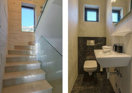 Villa Anna-downstairs cloakroom and glass staircase