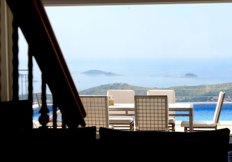 Villa Arc-a photo taken from the lounge picture window over the terrace and pool to the Dubrovnik Riviera