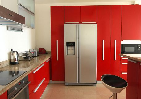 Villa Cruz-fully fitted kitchen with American fridge and microwave