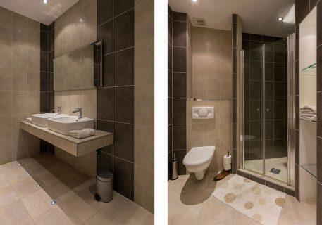 Villa Goja-Twin bedroom en-suite bathroom with large walk-in shower and his and her sinks