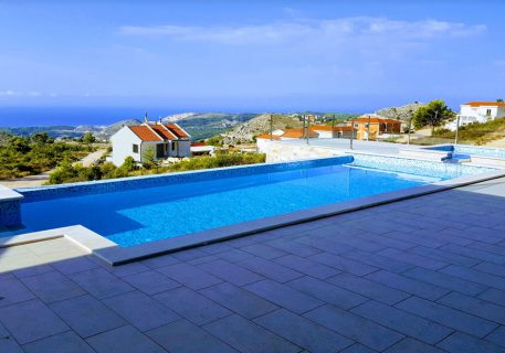 Villa-Andrea-view over the terraces and infinity pool and jet pool to the Adriatic Sea