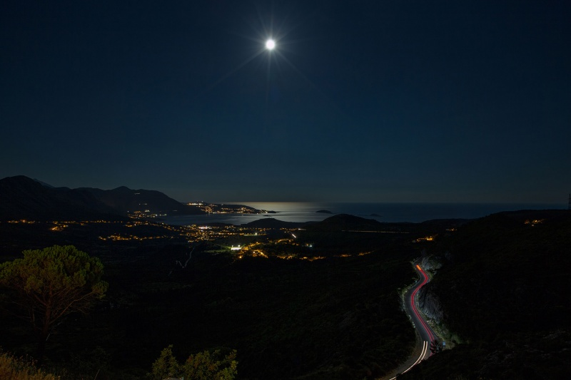 Spectacular view of the Croatian Coast by moon light