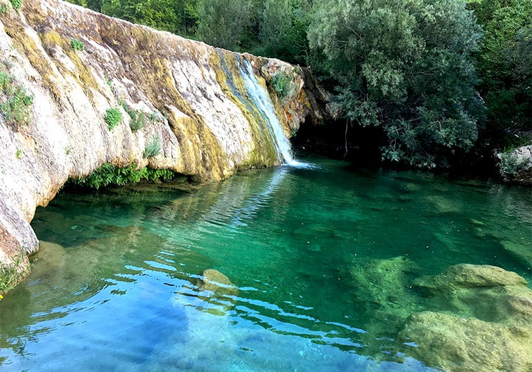 Crystal clear,turquoise waters of the river Trebisnjica