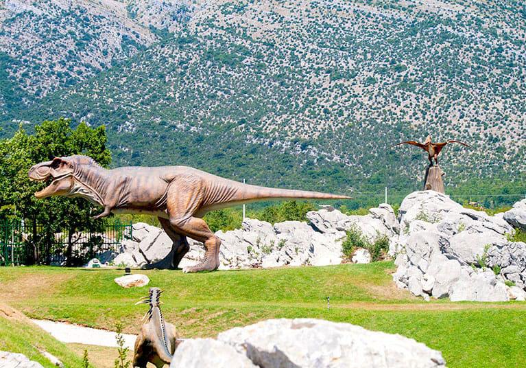Life size dinosaurs set in a Jurassic landscape-Aqua and Dino Park in Trebinje