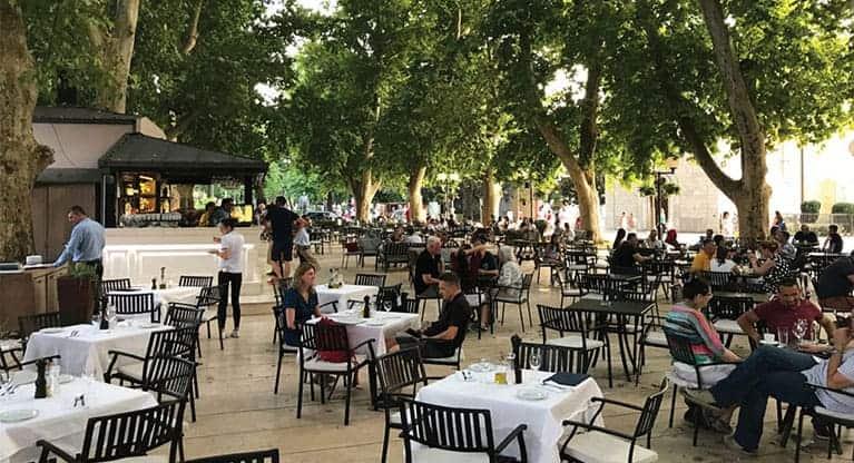 A popular cafe bar in the main Piazza-Trebinje