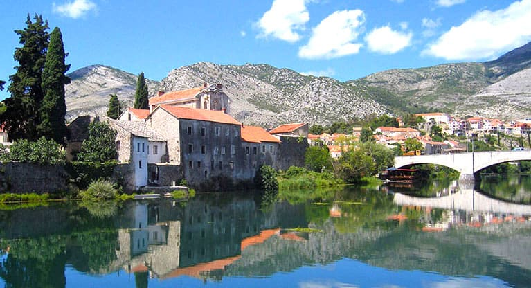 Dramatically nestled at the bottom of the mountains and built amongst this Jurassic landscape is our local town,Trebinje