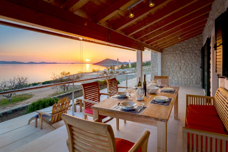 Luxury Villa Zizanj-Alfresco dining with your own private sunset